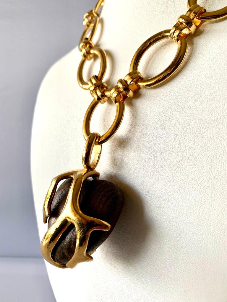 Artisan Vintage Yves Saint Laurent Heart Necklace For Sale