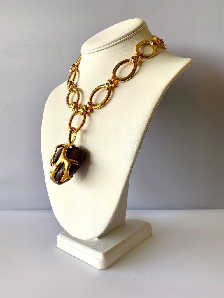 Vintage Yves Saint Laurent Heart Necklace In Excellent Condition For Sale In Palm Springs, CA
