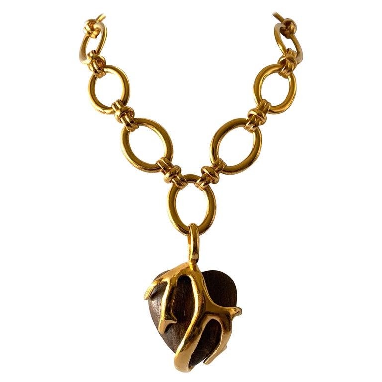 Vintage Yves Saint Laurent Heart Necklace For Sale