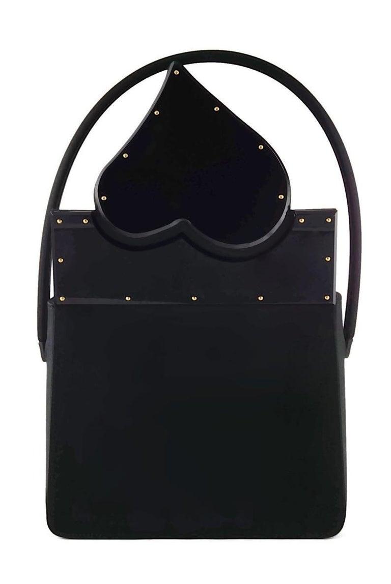 Vintage YVES SAINT LAURENT Heart Plexiglass Black Silk Box Bag In Good Condition For Sale In Kingersheim, Alsace