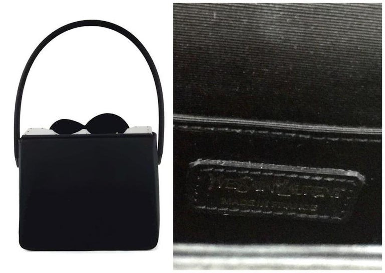 Women's Vintage YVES SAINT LAURENT Heart Plexiglass Black Silk Box Bag For Sale