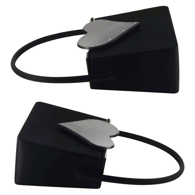 Vintage YVES SAINT LAURENT Heart Plexiglass Black Silk Box Bag For Sale