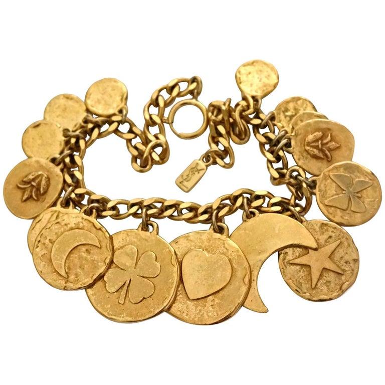 Vintage YVES SAINT LAURENT Iconic Charm Necklace For Sale