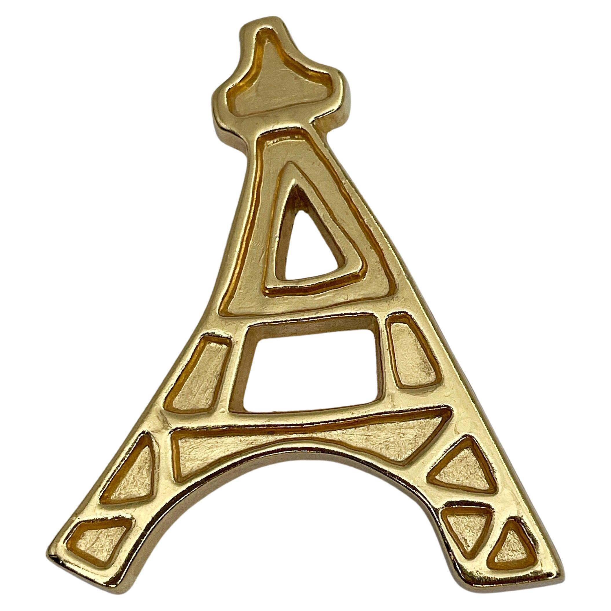 Vintage Yves Saint Laurent Iconic Gold Tone Eiffel Tower Brooch