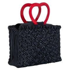 """Vintage Yves Saint Laurent """"In Love Again"""" Black Red Heart Handle Bag YSL"""