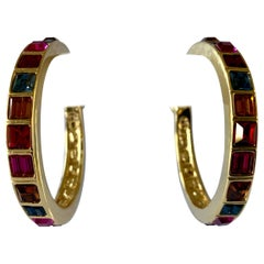 Vintage Yves Saint Laurent Jeweled Hoop Statement Earrings