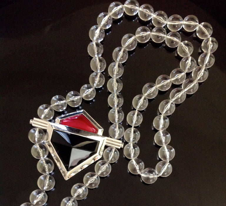 Modern Vintage Yves Saint Laurent Large Lucite Bead and Geometric Glass Necklace YSL For Sale