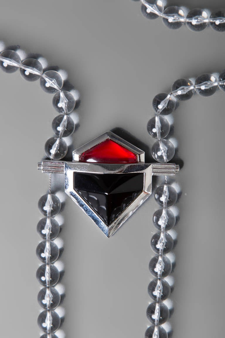 Vintage Yves Saint Laurent Large Lucite Bead and Geometric Glass Necklace YSL For Sale 3