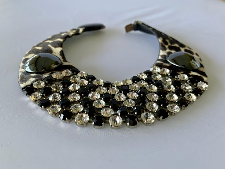 Vintage Yves Saint Laurent Leopard Diamante Statement Necklace In Good Condition For Sale In Palm Springs, CA