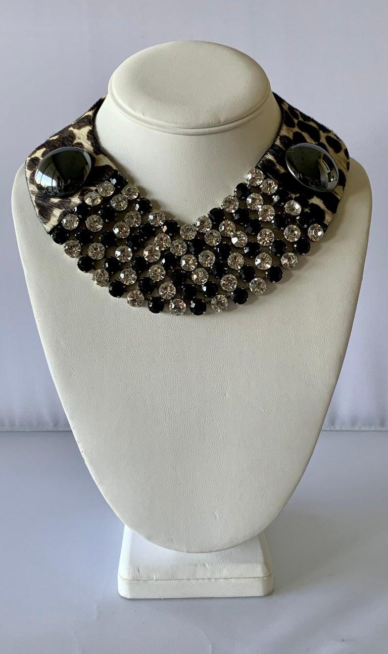 Women's Vintage Yves Saint Laurent Leopard Diamante Statement Necklace For Sale