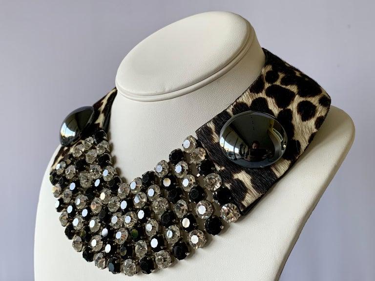 Vintage Yves Saint Laurent Leopard Diamante Statement Necklace For Sale 1