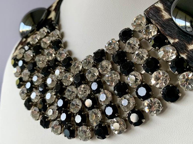 Vintage Yves Saint Laurent Leopard Diamante Statement Necklace For Sale 2