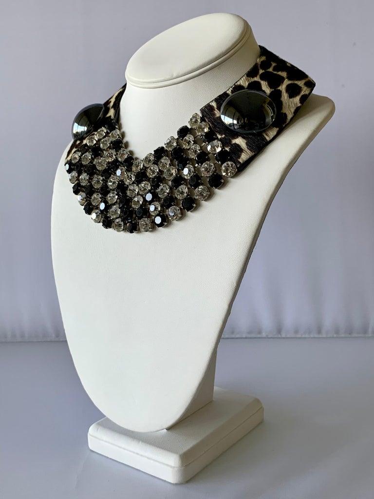 Vintage Yves Saint Laurent Leopard Diamante Statement Necklace For Sale 3