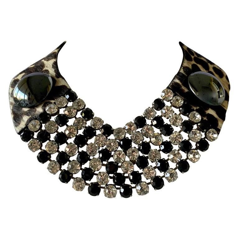 Vintage Yves Saint Laurent Leopard Diamante Statement Necklace For Sale