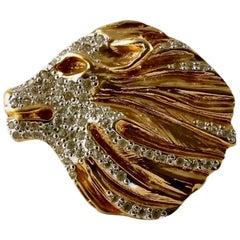 Vintage YVES SAINT LAURENT Lion Rhinestone Sculptured Brooch