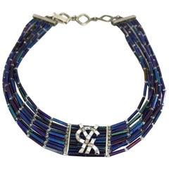 Vintage YVES SAINT LAURENT Logo Rhinestone Glass Bead Choker Necklace