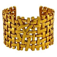 Vintage YVES SAINT LAURENT Logo Woven Cuff Bracelet