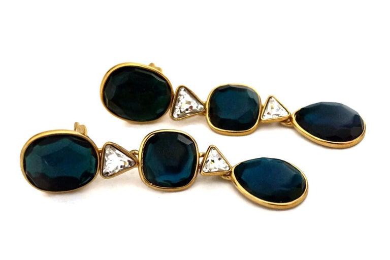 Women's Vintage YVES SAINT LAURENT Long Geometric Faceted Stone Earrings For Sale