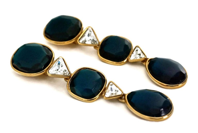 Vintage YVES SAINT LAURENT Long Geometric Faceted Stone Earrings For Sale 1