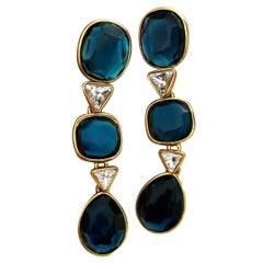 Vintage YVES SAINT LAURENT Long Geometric Faceted Stone Earrings