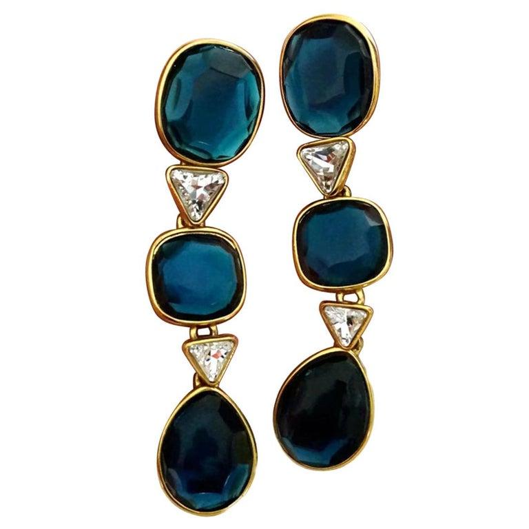 Vintage YVES SAINT LAURENT Long Geometric Faceted Stone Earrings For Sale