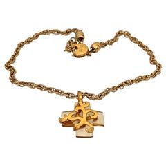 Vintage YVES SAINT LAURENT Lucite Gold Overlay Cross Necklace