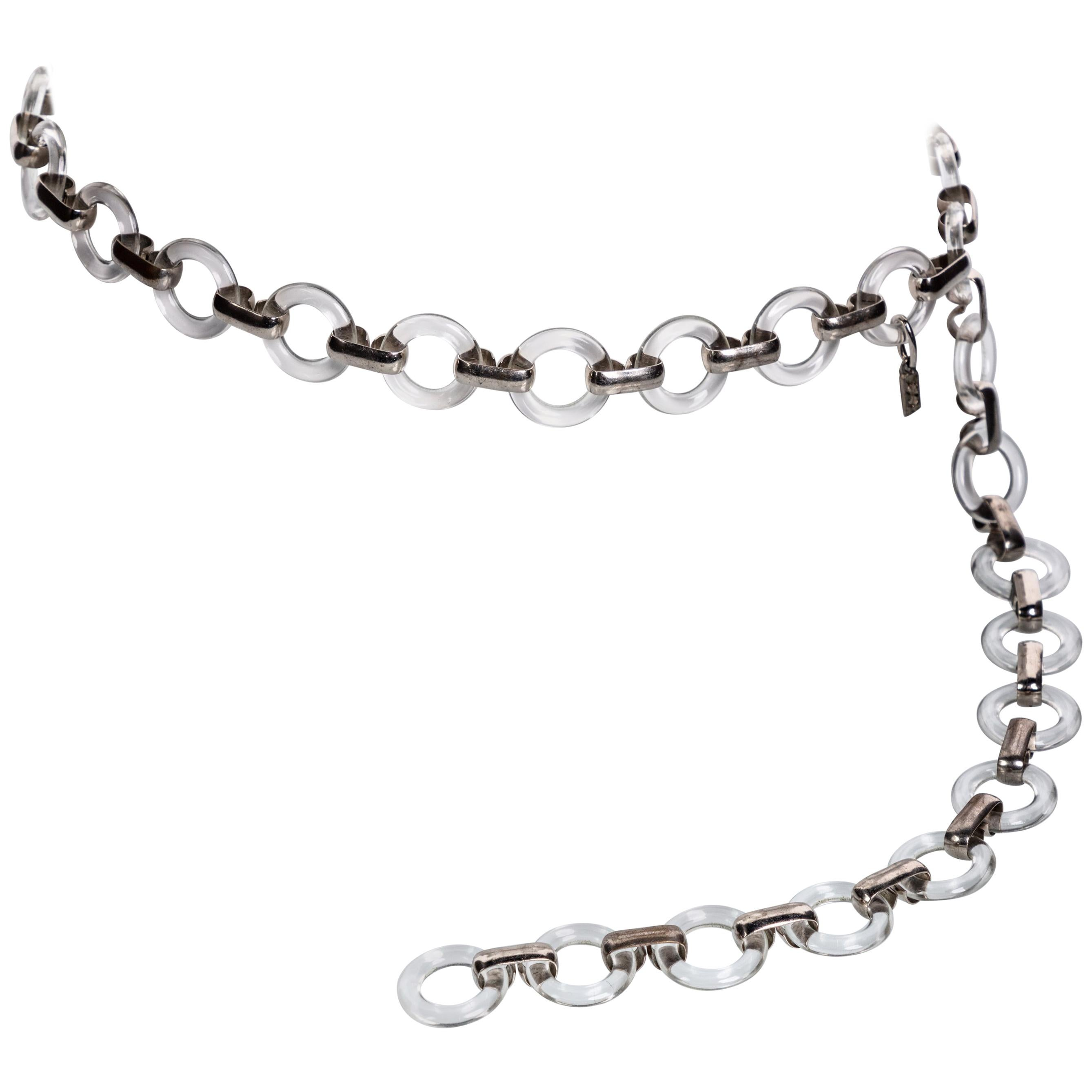 d72c85b14ee Vintage Yves Saint Laurent Lucite Rings Silver Link Belt Necklace For Sale  at 1stdibs