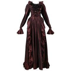 Vintage Yves Saint Laurent Metallic Burgundy Taffeta Ruffle Ball Gown