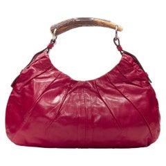 vintage YVES SAINT LAURENT Mombasa horn handle red leather shoulder hobo bag