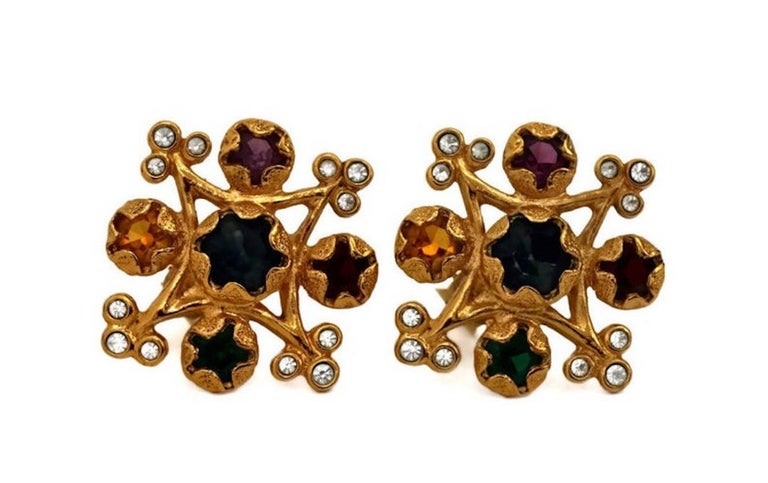 Vintage YVES SAINT LAURENT Multi Colored Stone Earrings In Excellent Condition For Sale In Kingersheim, Alsace