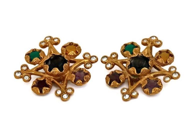 Women's Vintage YVES SAINT LAURENT Multi Colored Stone Earrings For Sale