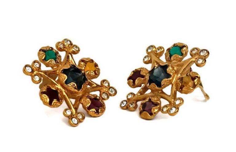 Vintage YVES SAINT LAURENT Multi Colored Stone Earrings For Sale 1