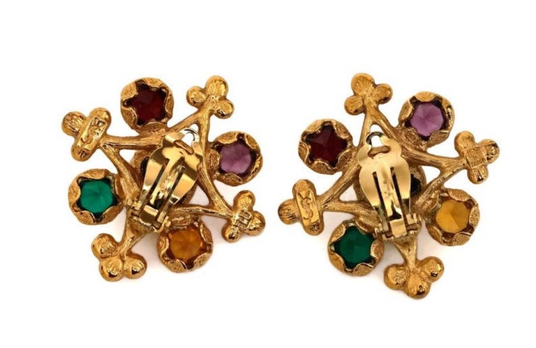 Vintage YVES SAINT LAURENT Multi Colored Stone Earrings For Sale 2