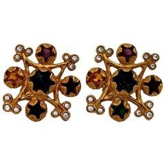 Vintage YVES SAINT LAURENT Multi Colored Stone Earrings