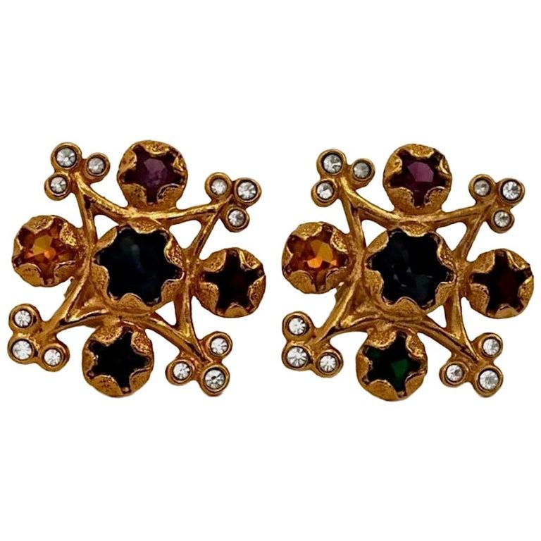 Vintage YVES SAINT LAURENT Multi Colored Stone Earrings For Sale