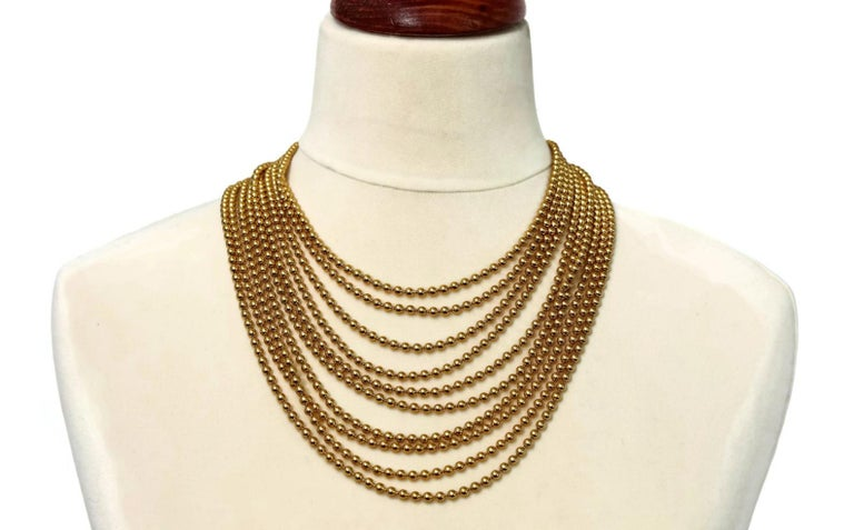 Vintage YVES SAINT LAURENT Multi Layer Chain Necklace  Measurement: Wearable Length: 17 inches  Features: - 100% Authentic YVES SAINT LAURENT. - Massive necklace with 10 layers of Bead/ Ball Chain. - YVES SAINT LAURENT signature twice on the bar