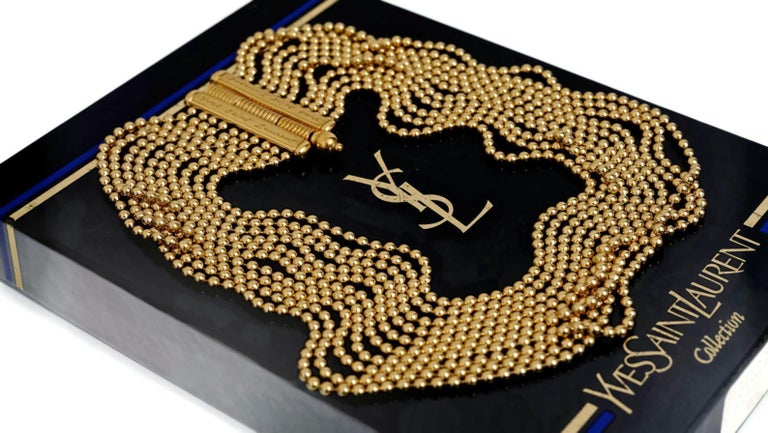 Vintage YVES SAINT LAURENT Multi Layer Chain Necklace In Excellent Condition For Sale In Kingersheim, Alsace