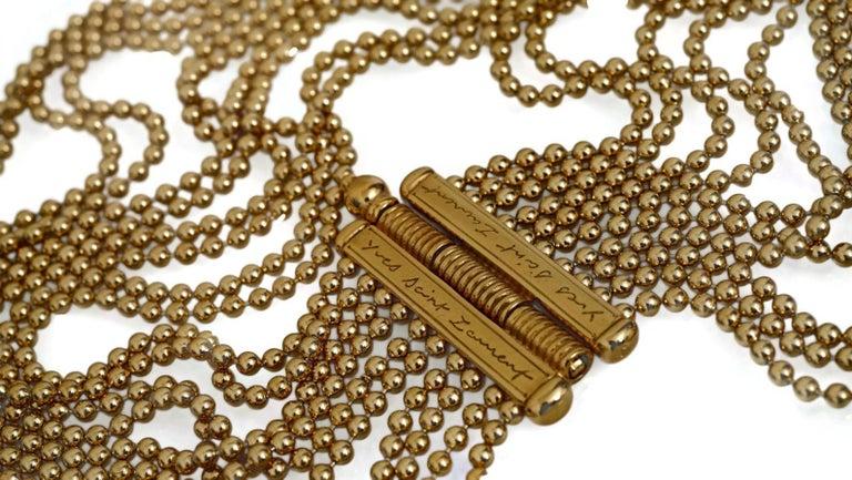 Vintage YVES SAINT LAURENT Multi Layer Chain Necklace For Sale 1