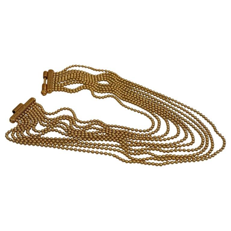 Vintage YVES SAINT LAURENT Multi Layer Chain Necklace For Sale
