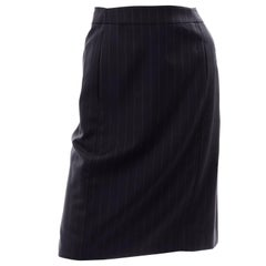 Vintage Yves Saint Laurent Navy Wool Pinstripe Pencil Skirt