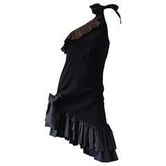 Vintage Yves Saint Laurent One Shoulder Ruffle Cocktail Dress
