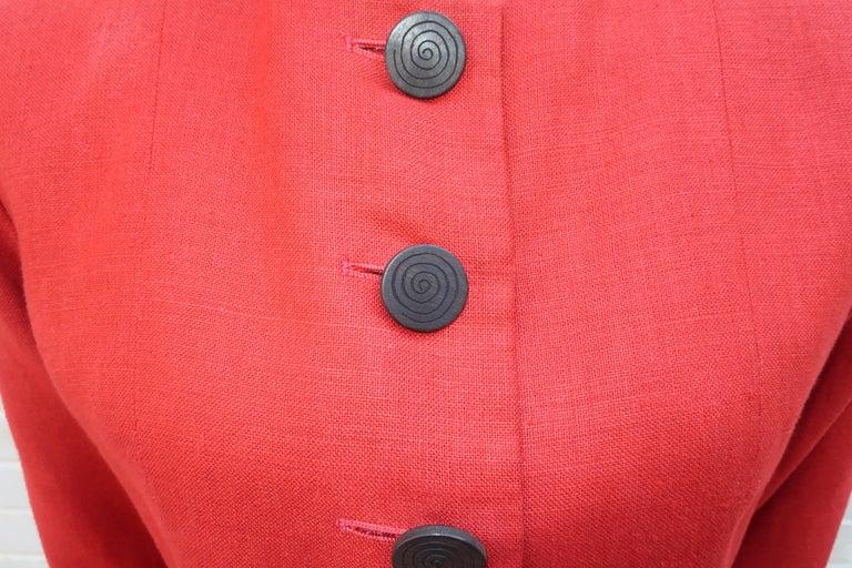 Red Vintage Yves Saint Laurent Orange Linen Jacket For Sale