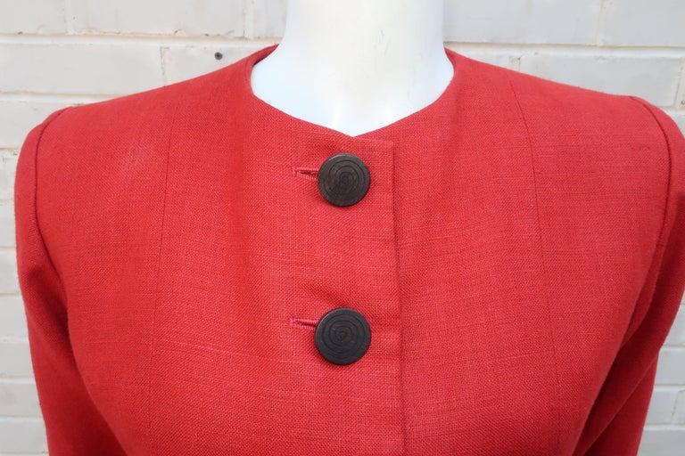 Vintage Yves Saint Laurent Orange Linen Jacket In Good Condition For Sale In Atlanta, GA