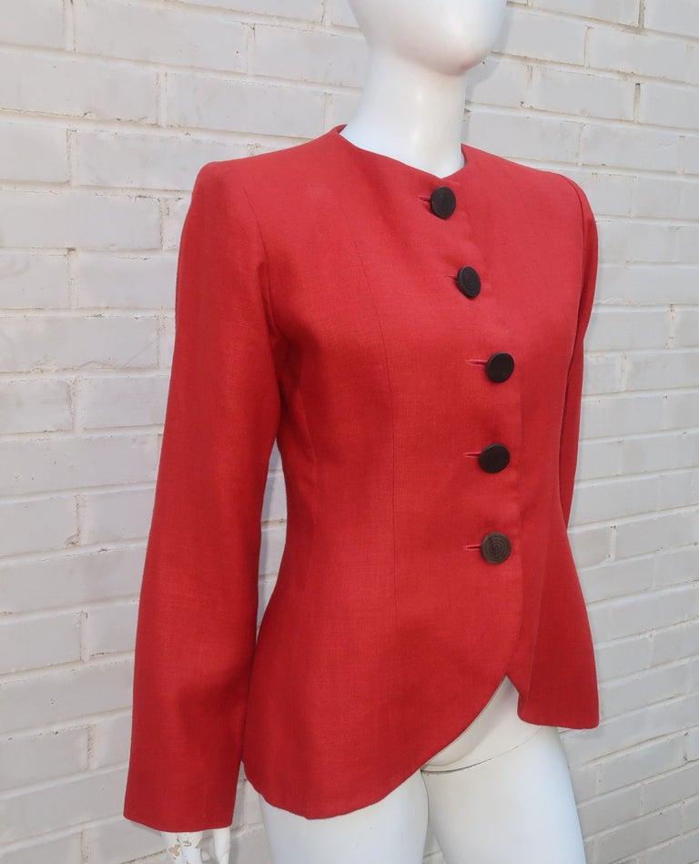 Women's Vintage Yves Saint Laurent Orange Linen Jacket For Sale