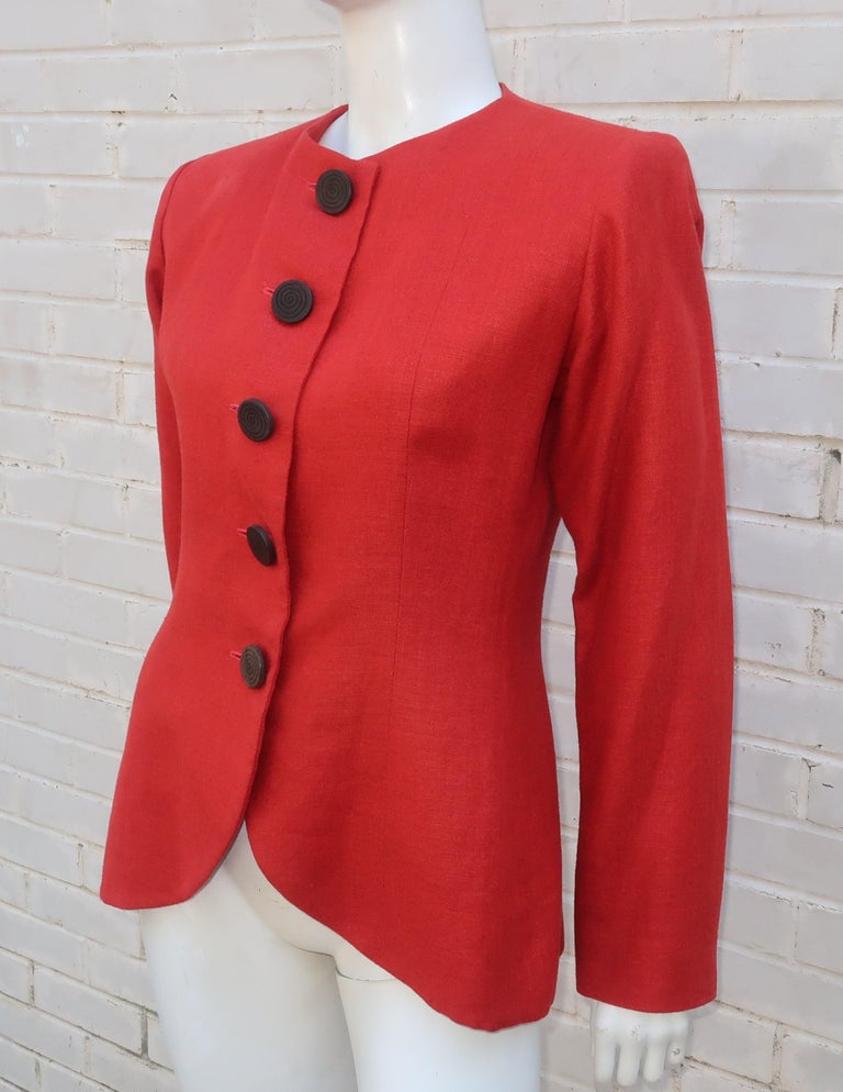 Vintage Yves Saint Laurent Orange Linen Jacket For Sale 1