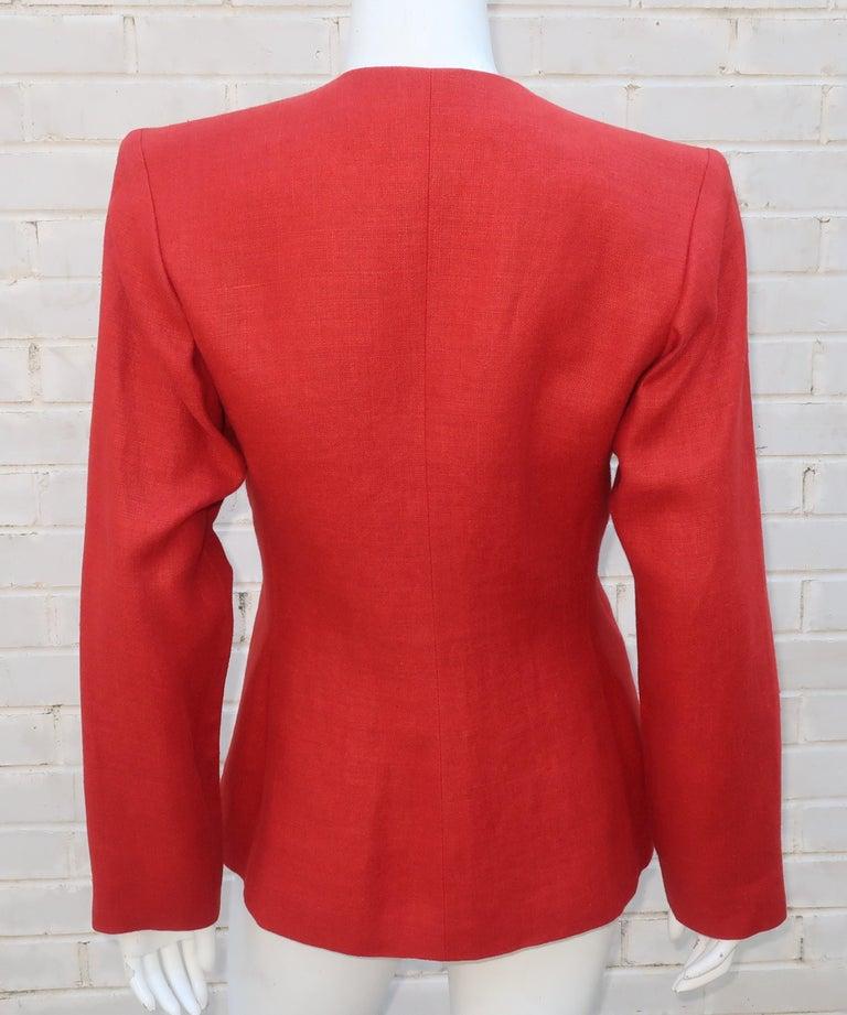 Vintage Yves Saint Laurent Orange Linen Jacket For Sale 2