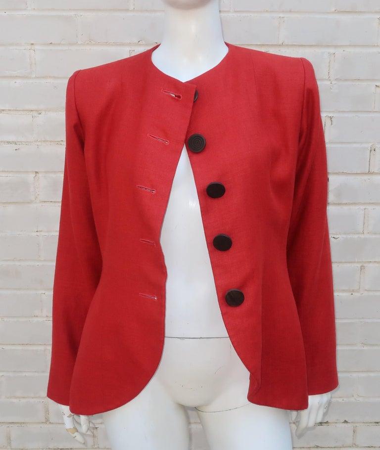 Vintage Yves Saint Laurent Orange Linen Jacket For Sale 3