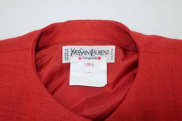 Vintage Yves Saint Laurent Orange Linen Jacket For Sale 4