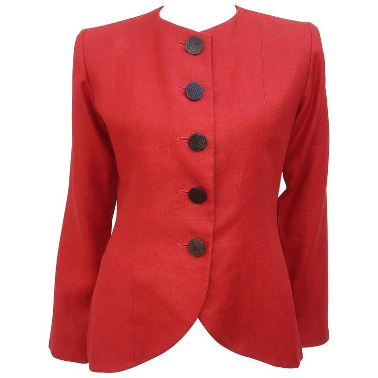 Vintage Yves Saint Laurent Orange Linen Jacket For Sale