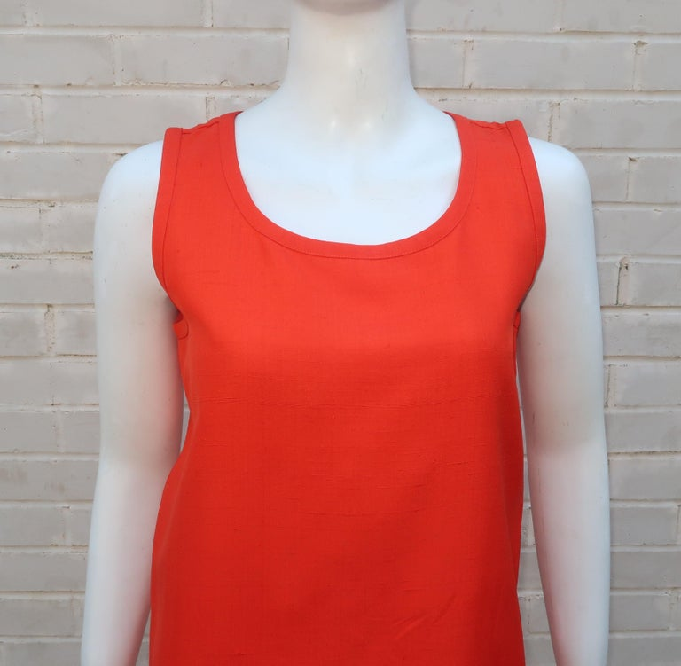 Red Vintage Yves Saint Laurent Orange Raw Silk Tank Top Blouse For Sale
